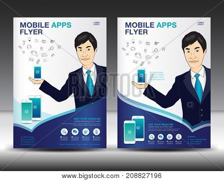 Mobile Apps Flyer template. Business brochure flyer design layout. smartphone icons mockup. application presentation. Magazine ads. Blue cover. poster, leaflet. infographics. advertisement. in A4 size