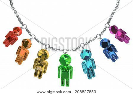Many color crystal people figures jewelry chain isolated 3d illustration horizontal