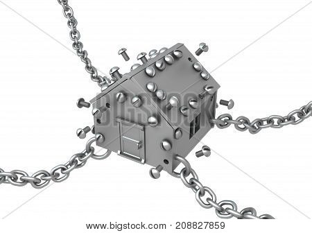 Metal plate small house symbol chained 3d illustration horizontal isolated over white