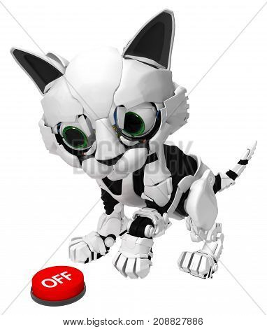 Robotic kitten with red turn off button 3d illustration horizontal isolated