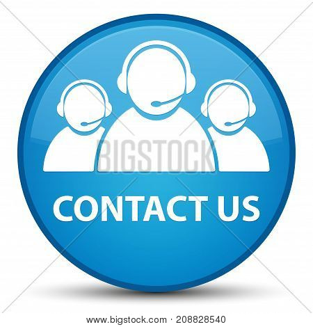Contact Us (customer Care Team Icon) Special Cyan Blue Round Button