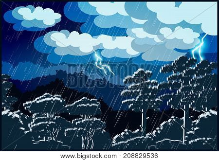 Stylized vector illustration of a night landscape of a forest. Thunderstorm lightning and rain.
