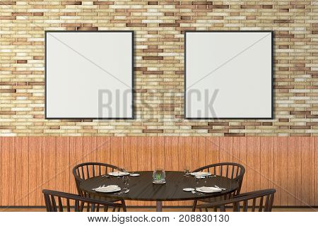 Modern Restaurant Interior With Served Tables And Blank Poster