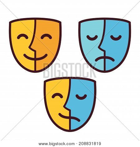 Happy and sad face mask icons half happy and half sad. Bipolar or borderline personality disorder psychology concept vector illustration.