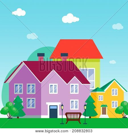 Vector city with cartoon houses and buildings. City space with road on flat style background concept. Summer urban landscape. Street view with cityscape background modern flat style