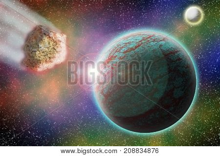 an asteroid flies to the planet in space 3d illustration