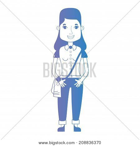 line avatar woman with hairstyle and clothes vector illustration