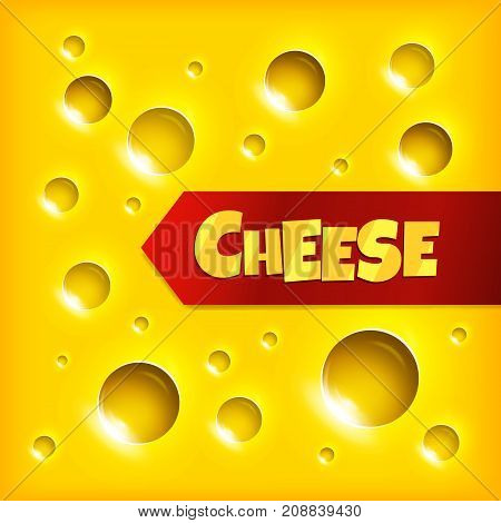 Cheese slice texture yellow background Vector Illustration.