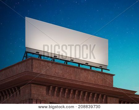 Empty billboard on the roof of a red building. 3d rendering