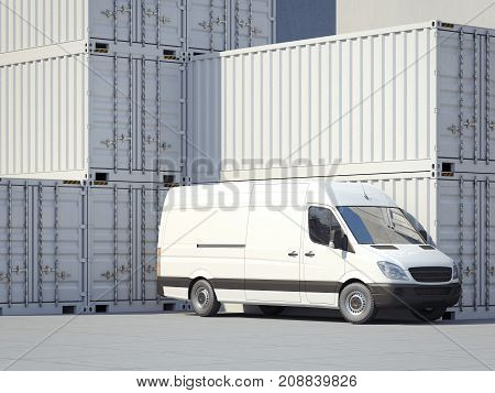 Minivan near big white storage containers. 3d rendering