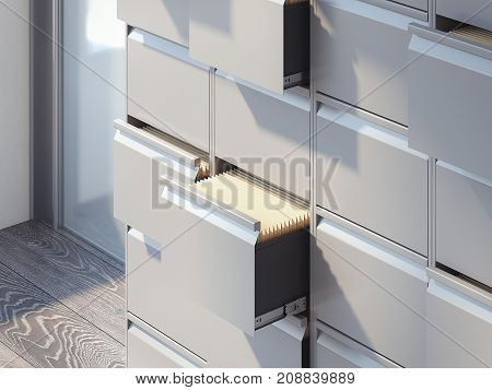 File cabinets in the bright office interior. 3d rendering