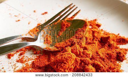paprica powder in white  plate with spoon.