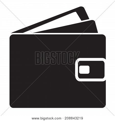 wallet icon on whte background. flat style. wallet sign. cash symbol.