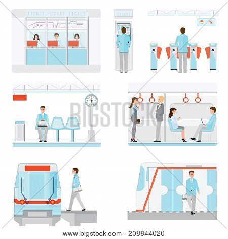 Set of subway train station platform with commuter businessman buying Train ticket at vending machines and waiting for train transportation conceptual vector illustration.