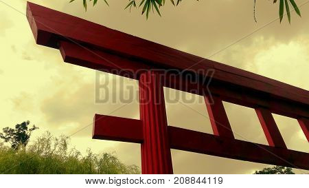 Traditional Japanese gate or torii gates in Shinto shrine.