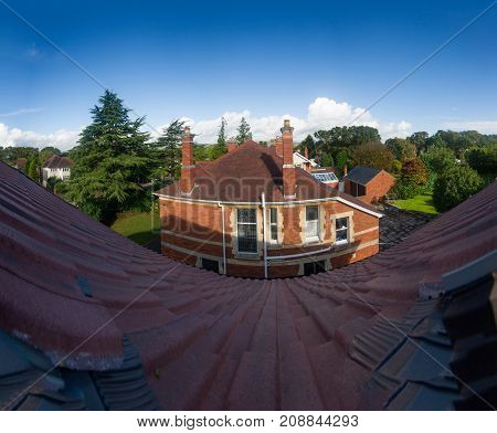 Old English traditional stone cottage- top view.