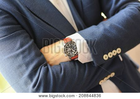 close up of watch on a man's hand