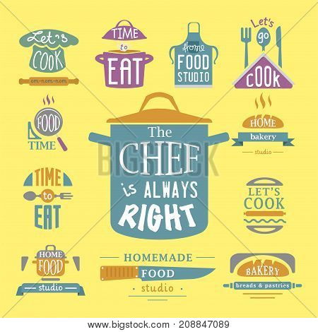 Cooking badge motivation text vector illustration bakery shop food logos typography and labels design elements. Tasty hight quality cafeteria menu vintage template emblem.