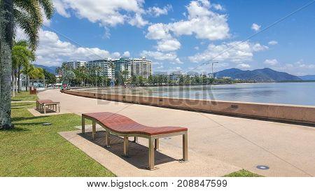 Cairns esplanade a tourist town in Queensland Australia