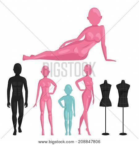 Vector dummy mannequin model. Different poses colors male and female icons. Beautiful attractive sculpture plastic figure silhouette.