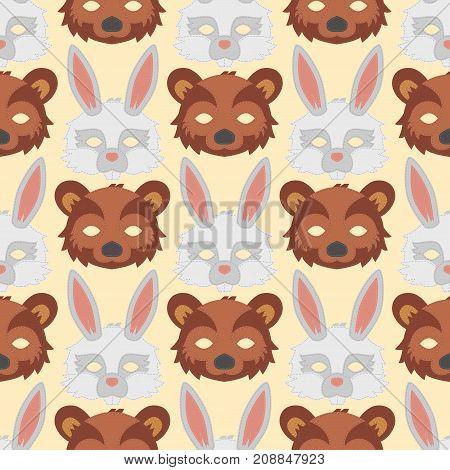 Cartoon animal bear rabbit party masks vector holiday illustration party fun seamless pattern background. Celebration character head masquerade festival decoration.