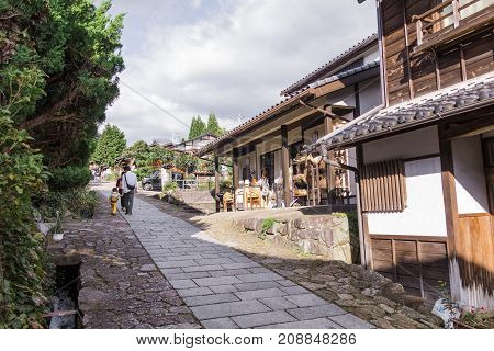The old town or old buildings of Magome for the travelers walking at old street in Nagano Prefecture JAPAN.
