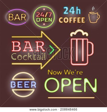 Light neon labels vector illustration font decorative symbols night bright text objects. Cafe club decoration electric bar advertise lamp business glowing text.