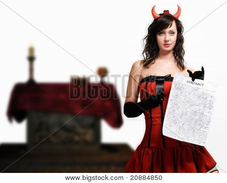 Beauty red devil girl with a contract over white poster
