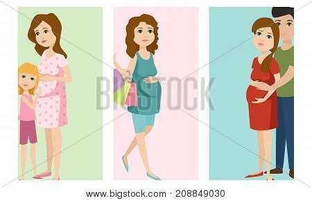 Pregnancy motherhood people and expectation cards happy pregnant woman character life with big belly vector illustration. Mother beautiful abdomen expectant parenthood.