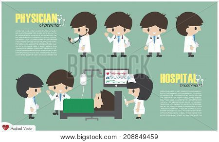 Doctor Cartoon Character And Inpatient Department In Hospital . Vector . Flat Design