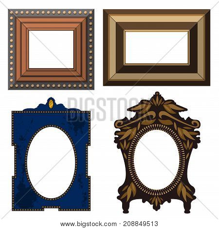 Picture frame museum interior exhibition decorative vector. Photo art gallery on vintage antique decoration wall. Photograph paper wooden square blanck.