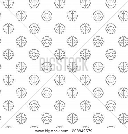 Unique brain seamless pattern with various icons and symbols on white background flat vector illustration