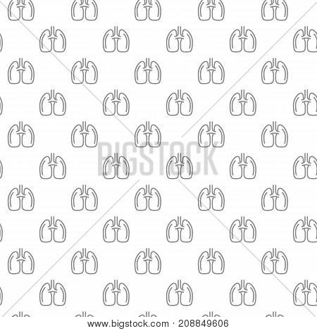 Unique lungs seamless pattern with various icons and symbols on white background flat vector illustration