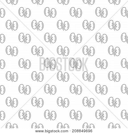 Unique kidney seamless pattern with various icons and symbols on white background flat vector illustration