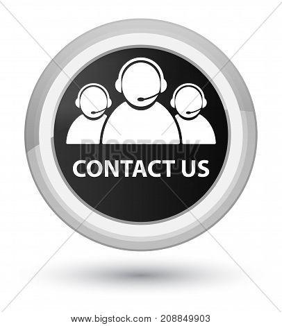 Contact Us (customer Care Team Icon) Prime Black Round Button