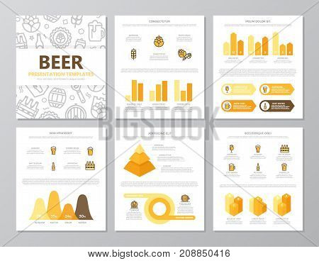 Set of colored beer and bar, pub elements for multipurpose a4 presentation template slides with graphs and charts. Leaflet, corporate report, marketing, advertising, annual report, book cover design.