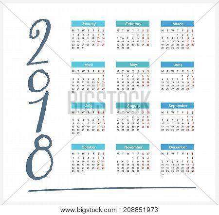 2018 Calendar week starts on Monday, vector eps10 illustration