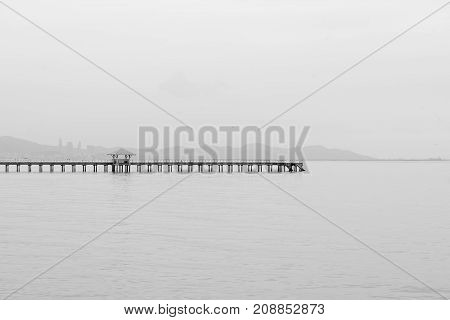 Abstract black and white seacoast skyline over sea port landscape background