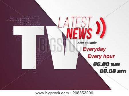 Illustration of TV News Opening Scene. Vector Broadcast News Banner Template