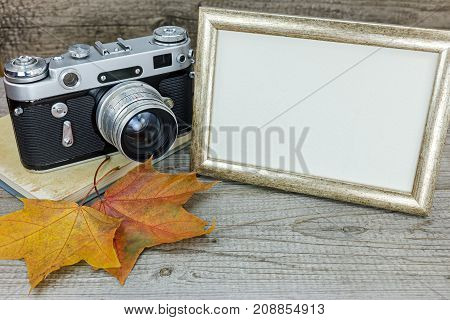 Classic Camera, Photo Frame And Yellow Fallen Leaves On Gray Wood Background