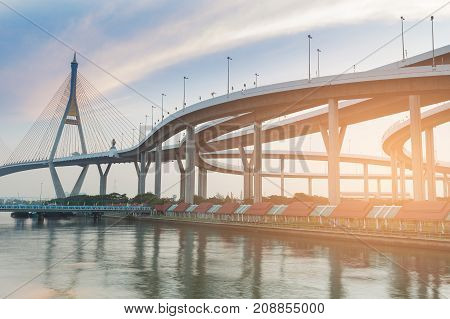Suspension bridge and highway intersesction river front