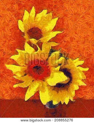 Sunflower Flower In Small Clear Glass Isolated On White Digital Painting. Imitation Of The Style Of