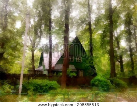 A Cozy Wooden House Hid In Thickets Among Tall, Slender Pines And Bushes On The Old Paper Background