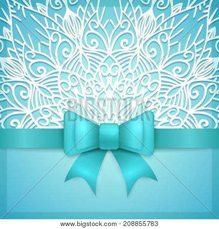Blue vintage greeting card template with bow ribbon and laces. Vector wedding invitation design. Anniversary template design for any celebration. Marriage birthday christmas baby shower flyer.