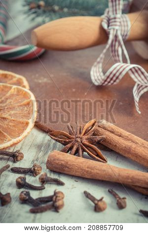 Vintage Photo, Dough For Cookies, Spice And Ingredient For Baking Gingerbread, Christmas Time Concep