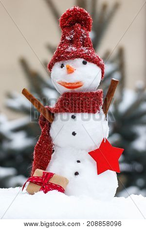 Snowman With Gift For Christmas On Background Of Coniferous Tree Covered Snow