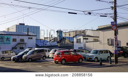 Cars At Parking Lot In Hakodate, Japan