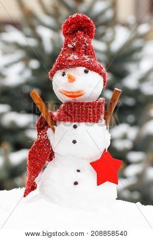 Decorated Snowman With Woolen Scarf And Cap On Background Of Coniferous Tree