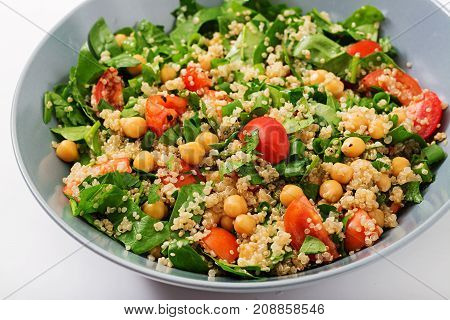Dietary Menu. Healthy Vegan Salad Of Fresh Vegetables - Tomatoes, Chickpeas, Spinach And Quinoa In A