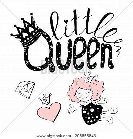 Vector illustration of little Queen text for girls clothes. Little Queen badge tag icon. Queen card invitation banner. Feminine calligraphy background. Little Queen lettering typography poster. EPS 10